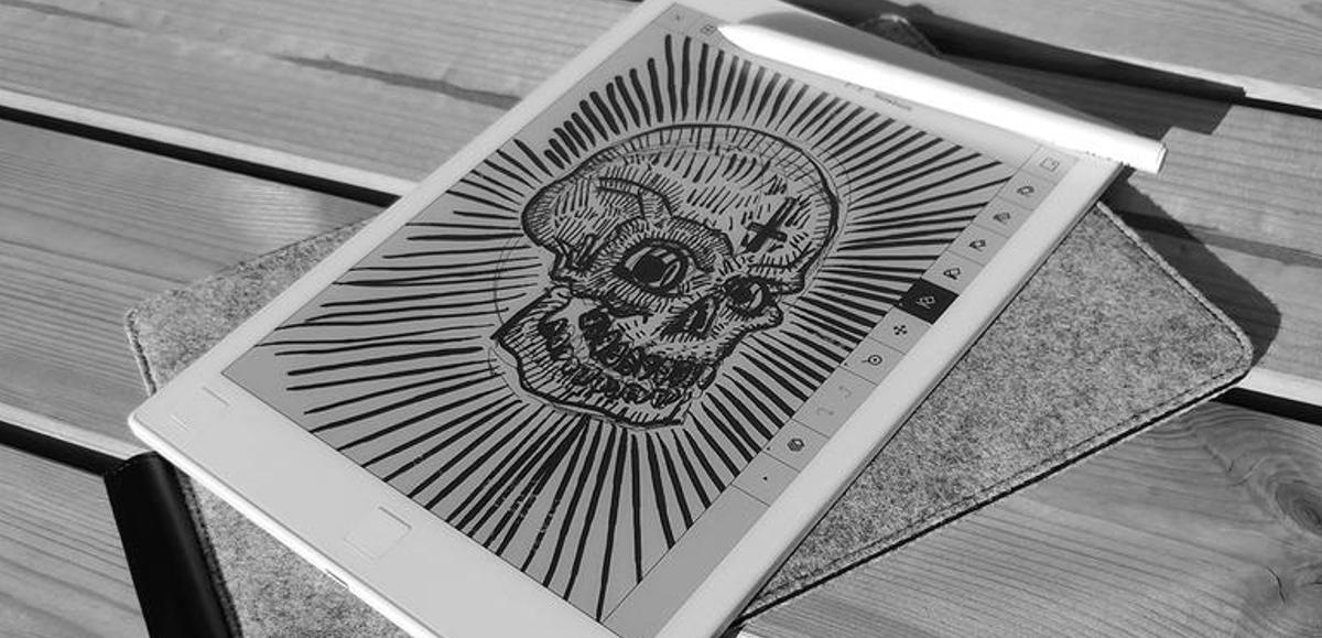 Skull artwork on reMarkable Tablet